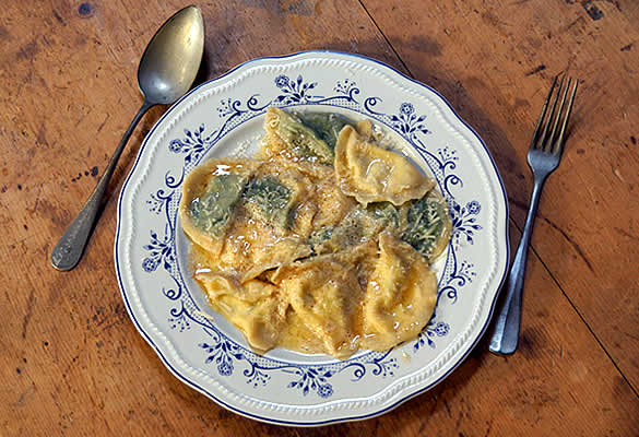 Spinach ravioli from South Tyrol